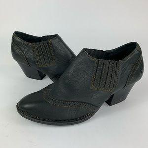 Born Black Leather Ankle Cowboy Bootie